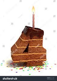 number four shaped chocolate birthday cake stock illustration