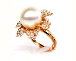 gold pearl rings images Flower shaped white south sea pearl diamond ring 13mm 14mm aaa jpg