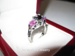 black and pink engagement rings nature inspired 14k white gold three black diamond light