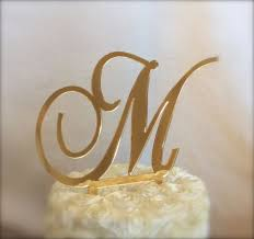 gold monogram cake toppers gold mirror custom monogram cake topper for by thecrystalflower