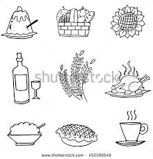 doodle thanksgiving turkey vegetable vector stock vector