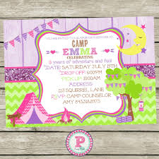 boy camping birthday party invitation personalized wood