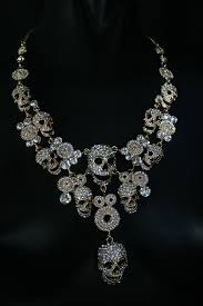 necklace skull images Skull necklace iridescent crystals goth jewelry goth wedding jpg