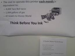 College Printer Meme - response to sign encouraging students to print less reminds