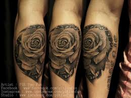forearm by susy body black rose tattoo on hand black and white