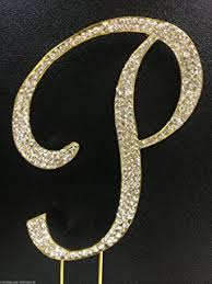 l cake topper completely covered swarovski monogram wedding