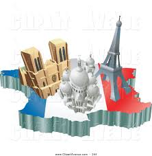 avenue clipart of a trio of french tourist attractions the