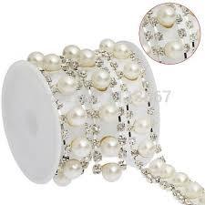 pearl ribbon 5yard craft pearl rhinestone chain applique embellishment
