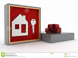 House Gift Key And Symbol Of House In Gift Box Stock Illustration Image