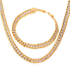 chain set necklace bracelet images Men necklace bracelet set 18k stamp jewelry gold plated foxtail jpg