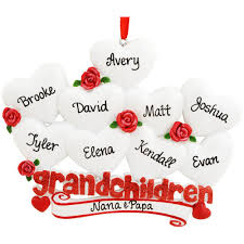 personalized grandchildren with 9 hearts ornament penned