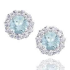 aquamarine earrings halo diamond and aquamarine earrings in 14k gold studs