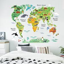Large World Map Poster Pvc Animals Large Wallpaper World Map Wall Sticker Anime Poster