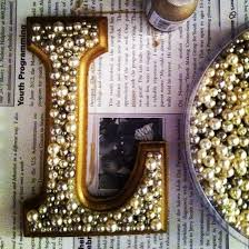 wooden letters with pearls or fun beads to hang on walls my
