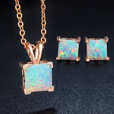 opal earrings necklace images Angel girl fashion square opal jewelry sets of rose gold color jpg