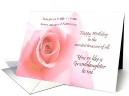 like a granddaughter birthday wishes pink rose card 813962