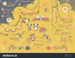 cute cartoon drawing panda tiger baby stock vector 210586306