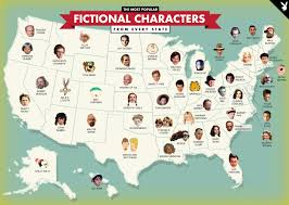Map Of The States In The United States by The Most Popular Fictional Character In Each State Mental Floss