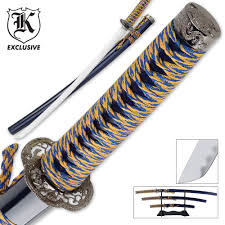 3 pc golden tiger sapphire katana samurai sword set budk com