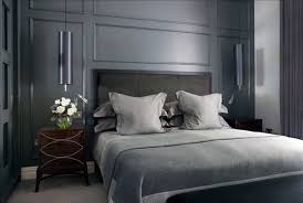 Dark Grey Nightstand White Wall Paint Color Plus Blue Wallpaper Double Twin Size