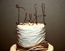 monogram cake toppers for weddings rustic wedding cake topper with your initials monogram wedding