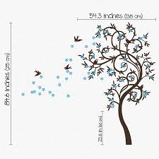 stylish curved tree with birds wall sticker by wall