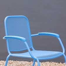 Stackable Mesh Patio Chairs by Royal Garden Milo Metal Mesh Stacking Arm Chair Blue 4 Pack