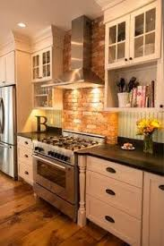 Kitchen With Brick Backsplash Small Galley Kitchen Makeover With Brick Backsplash For The Home