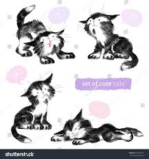 pencil black sketches four cute cats stock vector 278599310