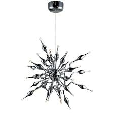 Sputnik Light Fixture by Azzardo Pipes 30 Light Chrome Metal Sputnik Chandelier