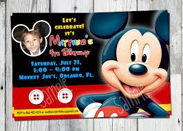 Invitation Card Birthday Mickey Mouse Photo Birthday Invitations U2013 Gangcraft Net