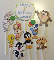 baby looney tunes baby shower decorations set of 9 baby looney tunes characters centerpiece picks bugs