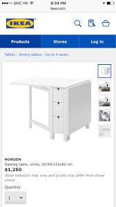 Ikea Dining Table White Ikea Norden Dining Table White Mid Levels Hong Kong Geoexpat