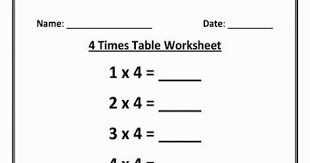 kids page 4 times multiplication table worksheet