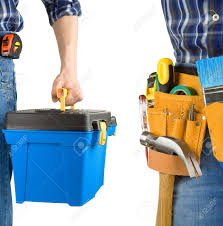 man and tool box with belt isolated on white background stock