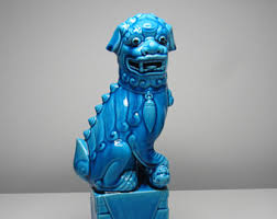 turquoise foo dogs for sale shishi lion etsy
