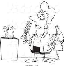 vector of a cartoon dog groomer holding a comb and blow dryer