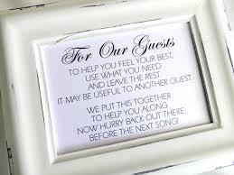 Wedding Guest Bathroom Basket Bathroom Goodies Basket Wedding Sign White Or Ivory