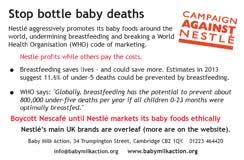 nestle boycott products list baby milk action