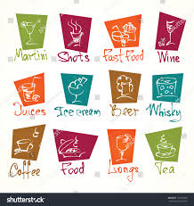 pink martini drawing cafe menu hand draw icons color stock vector 133135220 shutterstock