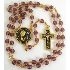 purple rosary gold bird rosary purple