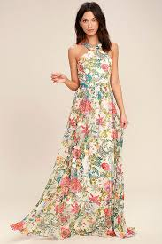lovely blue and white floral print dress halter maxi dress