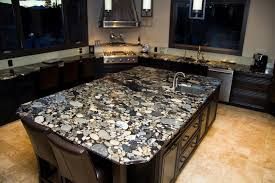 Granite Island Kitchen Granite Countertop Contemporary White Cabinets White Backsplash