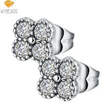 push back earrings wybeads silver color earring blossom clear cz push back