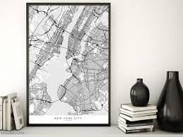 Wall Map Of New York City printable map of new york city in minimalist scandinavian style