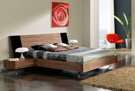 masculine floating platform bed on wooden floor room red black bed