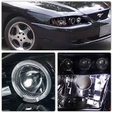 mustang projector headlights 98 ford mustang eye halo led drl projector headlights chrome