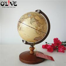home decor ornaments wooden globe terrestre retro vintage home decoration desk toy world