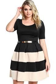 wholesale apricot stripes detail belted plus size skater dress