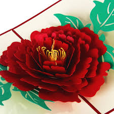 thanksgiving custom korean 3d stereoscopic creative luoyang peony greeting card